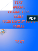 Text, Tables, Special Characters