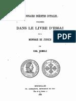 Monnaies inédites d'Italie figurées dans le livre d'essai de la monnaie de Zurich / par Eug. Demole