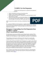Preparation of TAMIFLU for Oral Suspension