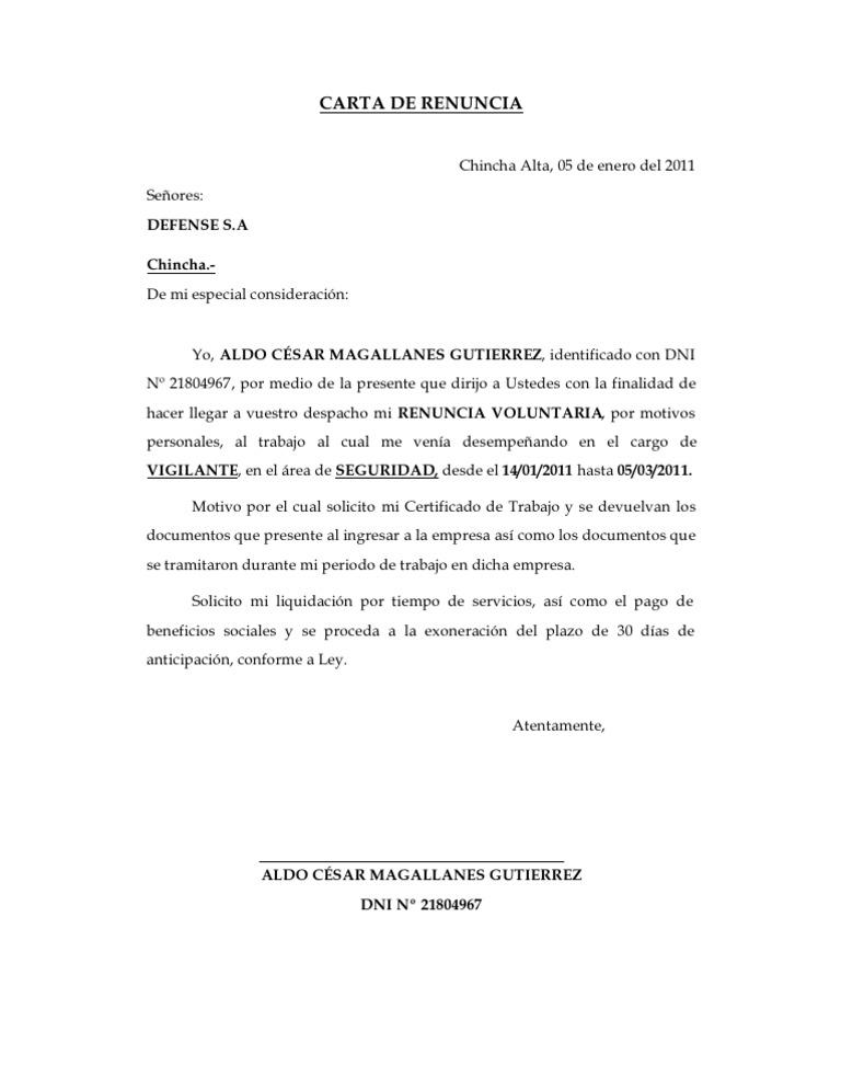 CARTA DE RENUNCIA-SEGURIDAD