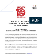 Carl Cox at Space Ibiza 2011 Line Up Press Release
