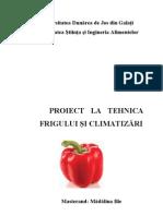 PROIECT   LA TEHNICA FRIGULUI ŞI CLIMATIZĂRI