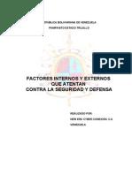 Factores Internos y Externos Que Atentan Contra La Seguridad y Defensa
