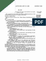 100 Stat. 3153 False Claims Amendments Act of 1986