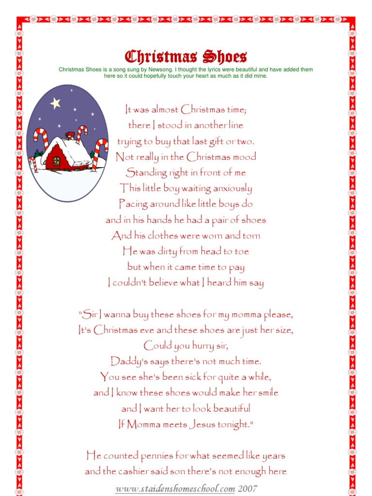 Christmas Shoes Lyrics.Christmas Shoes Leisure