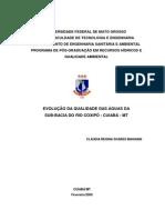 TRABALHO DE PÓS GRADUAÇÃO - EVOLUÇÃO DA QUALIDADE DAS ÁGUAS DA BACIA DO RIO COXIPÓ - CUIABÁ - MT