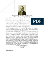 RENUNCIA DEL GENERAL PORFIRIO DÍAZ