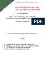 43613706 2006 Algorithmes Memetiques Pour Les Problemes de Tournees de Vehicules Slides