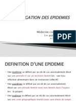 VI L'INVESTIGATION DES EPIDEMIES Biostatistique