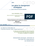 Alain Rondeau - Pour mieux g%C3%A9rer le changement strat%C3%A9gique Novembre 2006