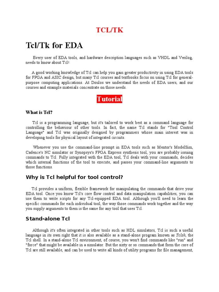 24950229 TCL Language | Hardware Description Language