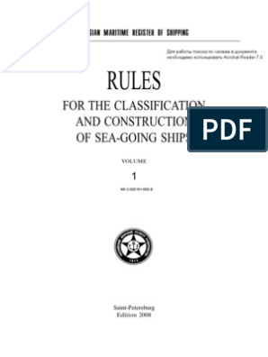 RULES FOR THE CLASSIFICATION AND CONSTRUCTION OF SEA-GOING