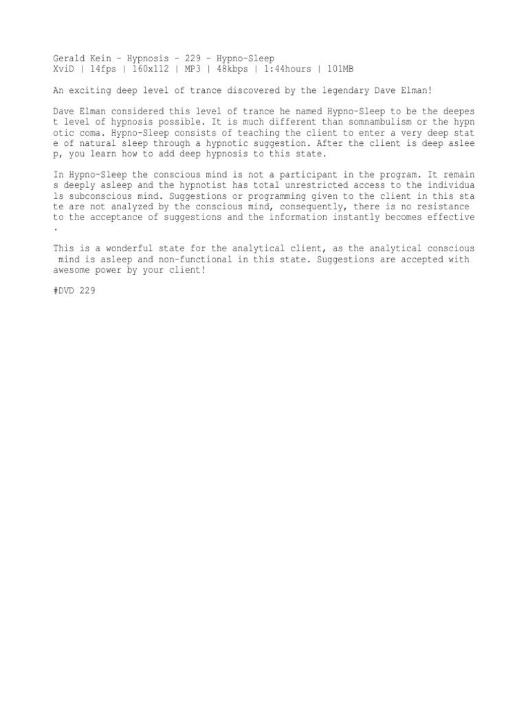 Gerald Kein - Hypnosis - 229 - Hypno-Sleep