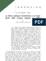 Elosegui Irazusta, Jesús. LA Sima Lepineux. Comentarios a la expedición Max Cosyns, Agosto de 1952