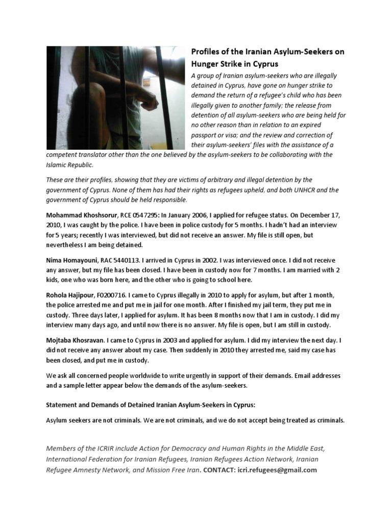 Profiles of iranian asylum seekers protesting in cyprus profiles of iranian asylum seekers protesting in cyprus letterwriting action asylum seeker immigration detention altavistaventures Images