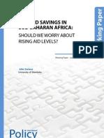 Aid and Savings in Sub- Saharan Africa