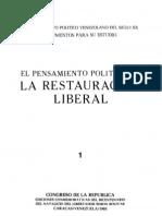 Tomo I. El pensamiento político de la Restauración Liberal