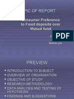 CONSUMER PERFERENCE TO FIXED DEPOSITS OVER MUTUAL FUND