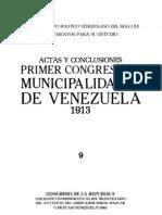 Tomo 9. Actas y conclusiones del primer Congreso de Municipalidades de Venezuela 1913
