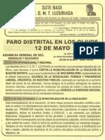 VOLANTE PARO  DISTRITAL CONTRA LA MUNICIPALIZACIÓN DE LA EDUCACIÓN 12 DE MAYO 2010