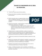 ROL DE ACTIVIDADES DE ENFERMERÍA EN EL ÁREA DE PEDIATRÍA