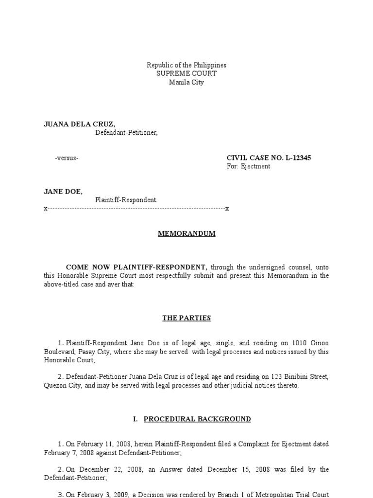 legal memorandum sample | ownership | appeal