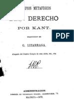 Kant Immanuel Principios Metafisicos Del Derecho 1873