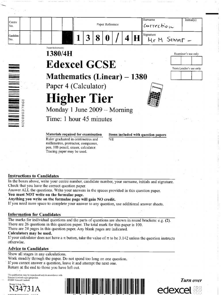 edexcel gcse maths practise paper 2a set