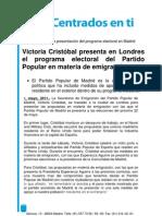 Victoria Cristóbal presenta en Londres el programa electoral del Partido Popular en materia de emigración