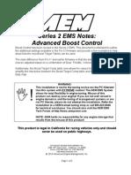 AEM Series 2 EMS Setup Notes- Advanced Boost