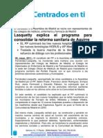 Lasquetty explica el programa para consolidar la reforma sanitaria de Aguirre