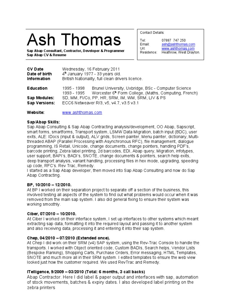 CV Resume - Sap Abap Contractor - Ash Thomas | User Interface ...