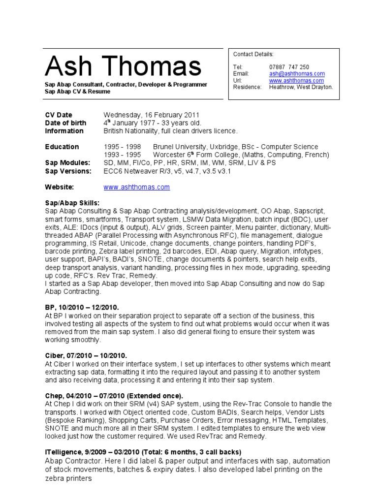 CV Resume - Sap Abap Contractor - Ash Thomas | User Interface ...