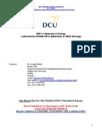 EM111 Materials Energy Laboratory Handout