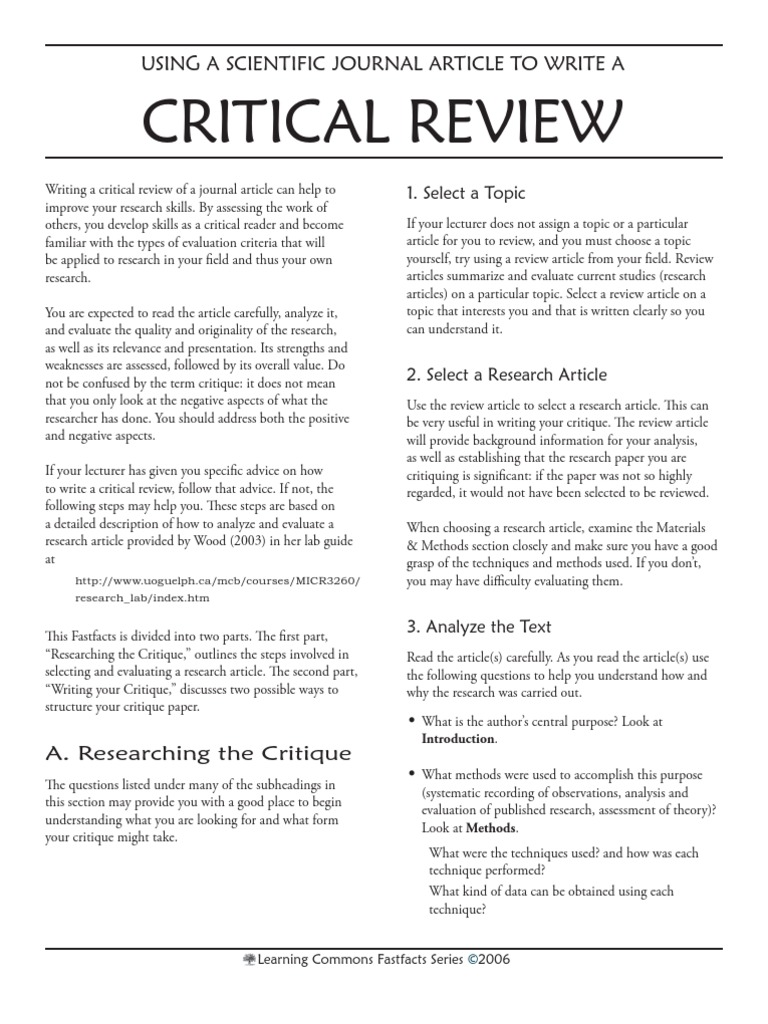 how to review a research article