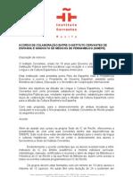 ACORDO DE COLABORAÇÃO ENTRE O INSTITUTO CERVANTES DE ESPANHA E SINDICATO DE MÉDICOS DE PERNAMBUCO