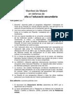 Manifest de Mataró en defensa de la Filosofia a l'educació secundària