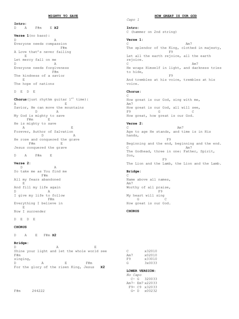 A Few Worship Songs With Guitar Chords Song Structure Jesus