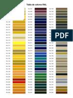 Tabla RAL de Colores