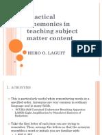 Practical Mnemonics in Teaching Subject Matter Content
