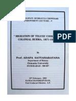 Migration of Telugu Coolies to  Colonial Burma, 1871-1947- Prof. Adapa Satyanarayana
