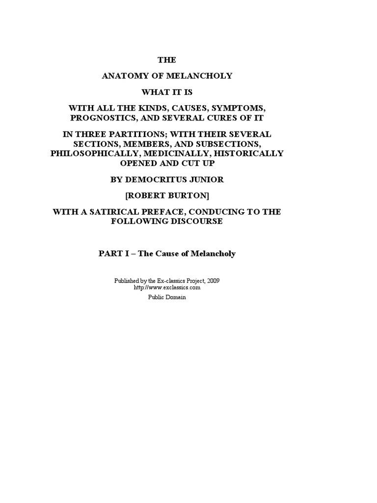 Robert Burton Anatomy Of Melancholy