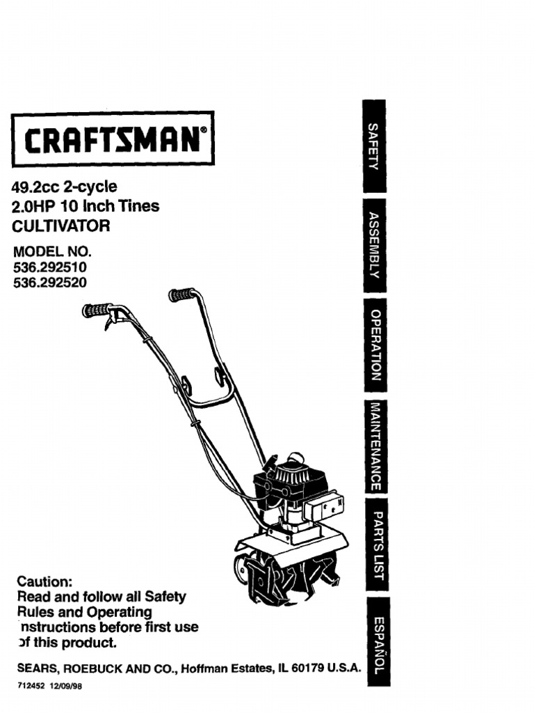 craftsman tiller manual gasoline internal combustion engine rh es scribd com Craftsman Radial Saw Owners Manual Craftsman 4 Cycle Cultivator Edger Parts for It
