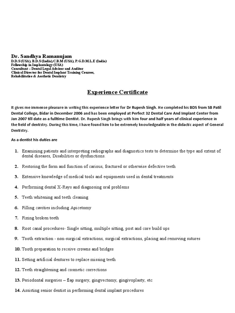 Experience Letter Format – Experience Certificate Templates