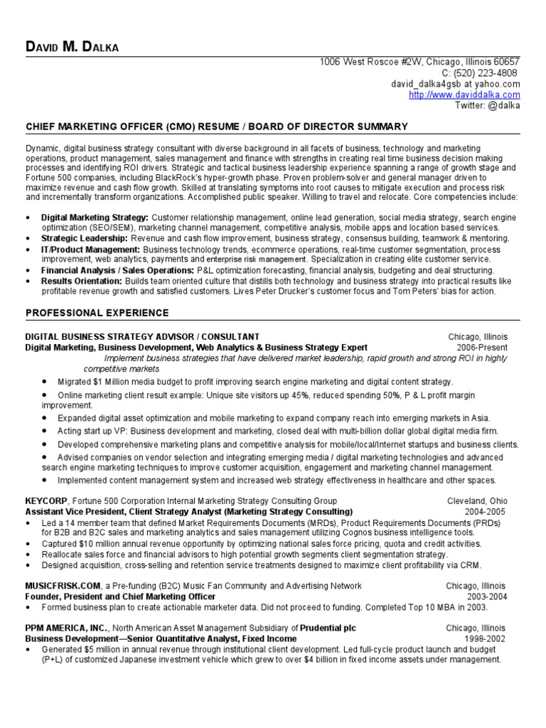 chief marketing officer resume  cmo     board of directors