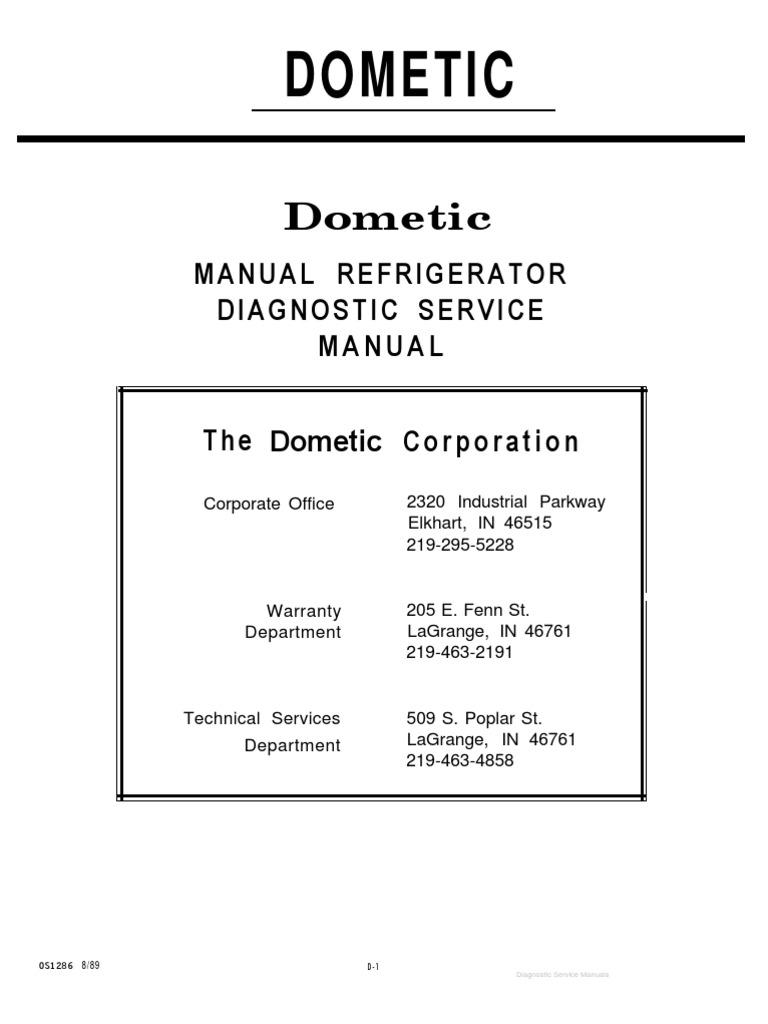 Dometic Manual Refrigerator Diagnostic Service Manual Air
