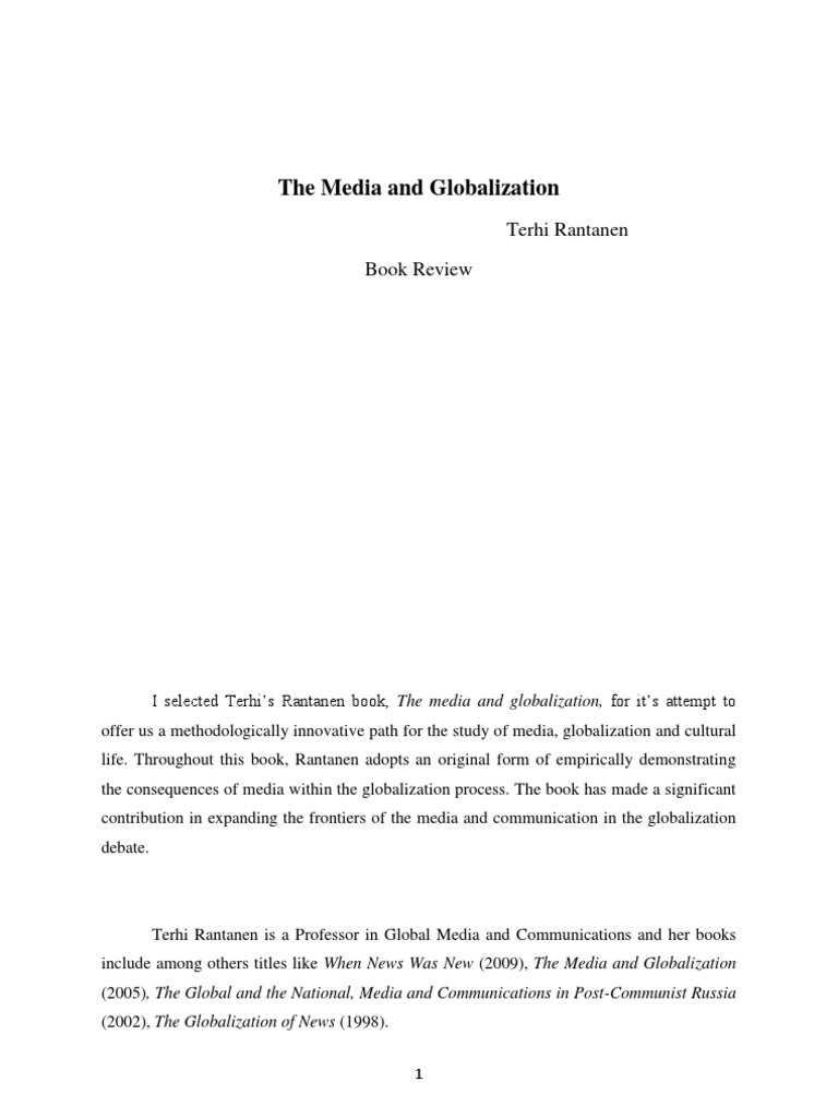 the media and globalization book review for scribd globalization