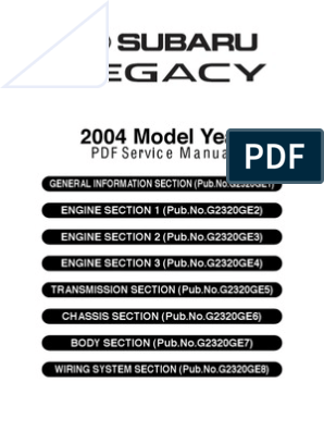 Subaru Legacy MY05-09 Service Manual Complete | Transmission ... on