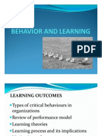 Behavior and Learning