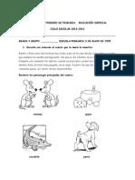 EVALUACIÓN PRIMERO DE PRIMARIA   EDUCACIÓN ESPECIAL